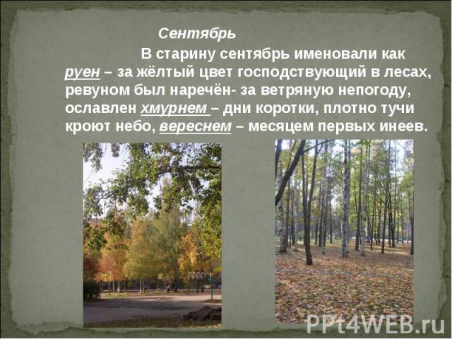 В старину сентябрь именовали как руен – за жёлтый цвет господствующий в лесах, ревуном был наречён- за ветряную непогоду, ославлен хмурнем – дни коротки, плотно тучи кроют небо, вереснем – месяцем первых инеев.
