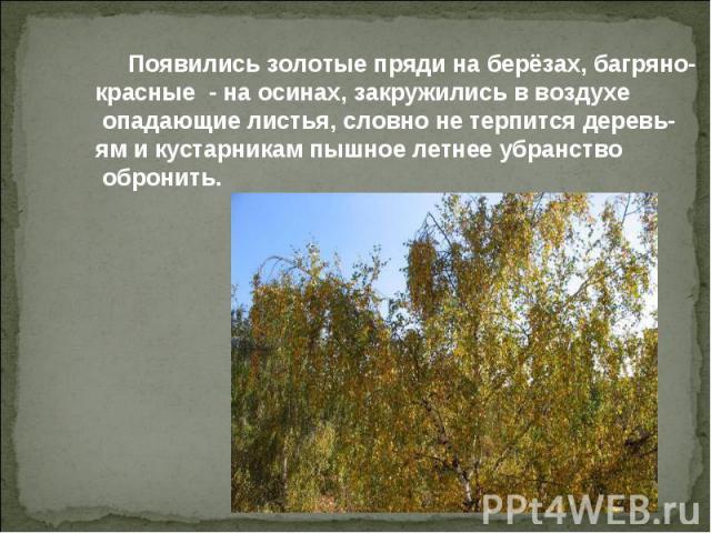 Появились золотые пряди на берёзах, багряно- красные - на осинах, закружились в воздухе опадающие листья, словно не терпится деревь- ям и кустарникам пышное летнее убранство обронить.