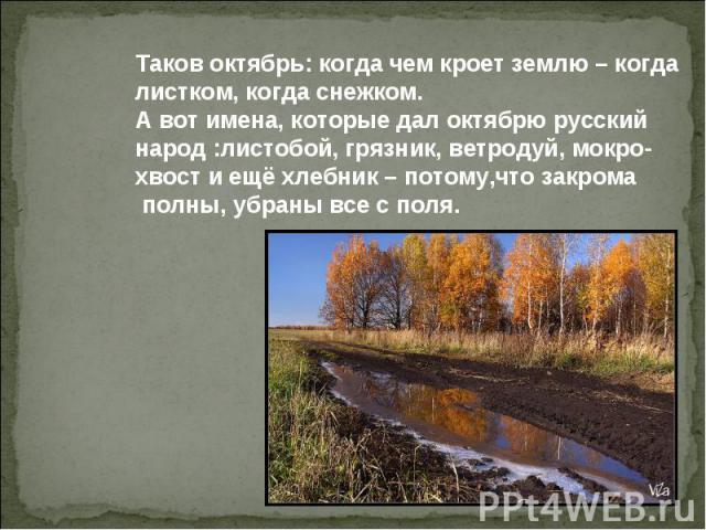 Таков октябрь: когда чем кроет землю – когда листком, когда снежком. А вот имена, которые дал октябрю русский народ :листобой, грязник, ветродуй, мокро- хвост и ещё хлебник – потому,что закрома полны, убраны все с поля.