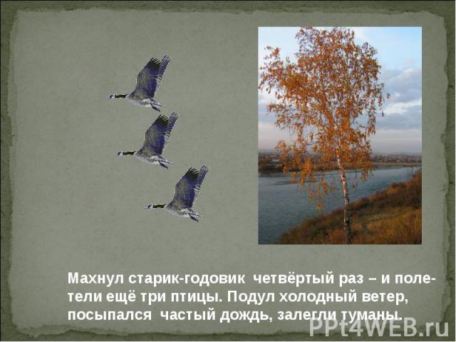 Махнул старик-годовик четвёртый раз – и поле- тели ещё три птицы. Подул холодный ветер, посыпался частый дождь, залегли туманы.