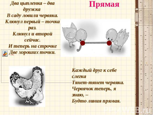 Два цыпленка – два дружка В саду ловили червяка. Клюнул первый – точка раз. Клюнул и второй сейчас. И теперь на строчке Две хороших точки. Каждый друг к себе слегка Тянет-тянет червяка. Червячок теперь, я…