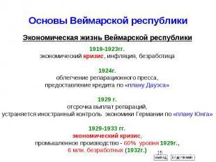Основы Веймарской республикиЭкономическая жизнь Веймарской республики 1919-1923г