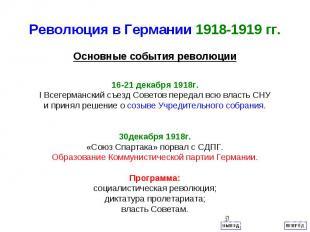 Революция в Германии 1918-1919 гг.16-21 декабря 1918г. I Всегерманский съезд Сов