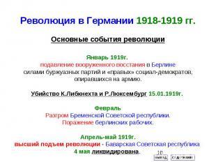 Революция в Германии 1918-1919 гг.Январь 1919г. подавление вооруженного восстани