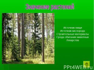 Значение растений Источник пищи Источник кислорода Строительные материалы Среда