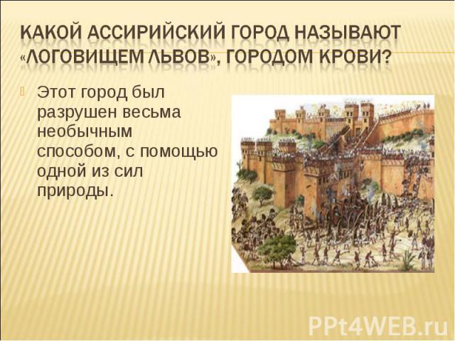 Какой ассирийский город называют «логовищем львов», городом крови?Этот город был разрушен весьма необычным способом, с помощью одной из сил природы.