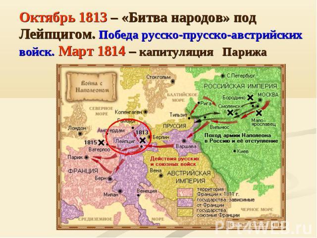 Октябрь 1813 – «Битва народов» под Лейпцигом. Победа русско-прусско-австрийских войск. Март 1814 – капитуляция Парижа