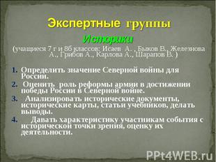 Экспертные группыИсторики (учащиеся 7 г и 8б классов: Исаев А. , Быков В., Желез