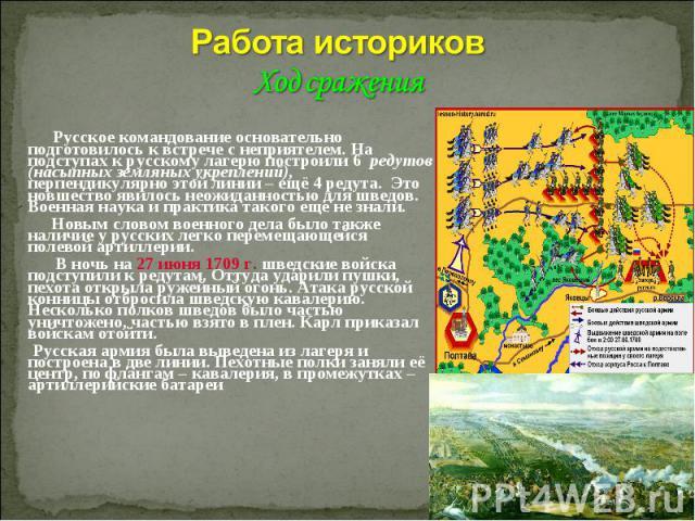 Работа историков Ход сражения Русское командование основательно подготовилось к встрече с неприятелем. На подступах к русскому лагерю построили 6 редутов (насыпных земляных укреплений), перпендикулярно этой линии – ещё 4 редута. Это новшество явилос…