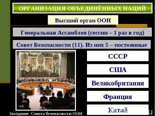 ОРГАНИЗАЦИЯ ОБЪЕДИНЁННЫХ НАЦИЙ . Высший орган ООН Генеральная Ассамблея (сессии
