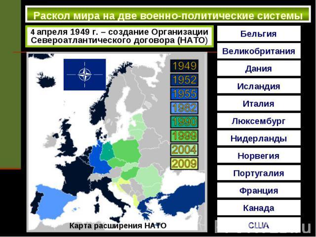 Раскол мира на две военно-политические системы 4 апреля 1949 г. – создание Организации Североатлантического договора (НАТО)