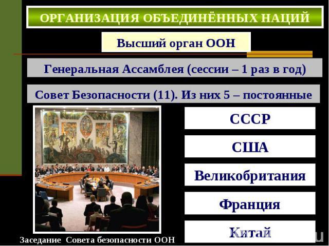 ОРГАНИЗАЦИЯ ОБЪЕДИНЁННЫХ НАЦИЙ . Высший орган ООН Генеральная Ассамблея (сессии – 1 раз в год) Совет Безопасности (11). Из них 5 – постоянные
