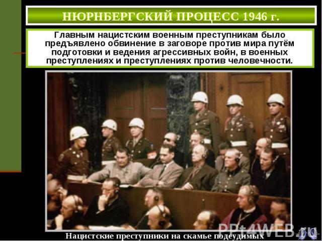 НЮРНБЕРГСКИЙ ПРОЦЕСС 1946 г. Главным нацистским военным преступникам было предъявлено обвинение в заговоре против мира путём подготовки и ведения агрессивных войн, в военных преступлениях и преступлениях против человечности.