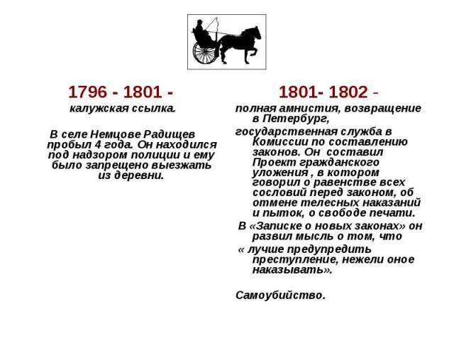 1796 - 1801- калужская ссылка. В селе Немцове Радищев пробыл 4 года. Он находился под надзором полиции и ему было запрещено выезжать из деревни. 1801- 1802- полная амнистия, возвращение в Петербург, государственная служба в Комиссии по составлению…