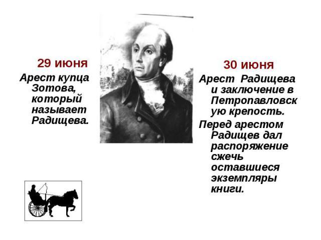 29 июня Арест купца Зотова, который называет Радищева. 30 июня Арест Радищева и заключение в Петропавловскую крепость. Перед арестом Радищев дал распоряжение сжечь оставшиеся экземпляры книги.