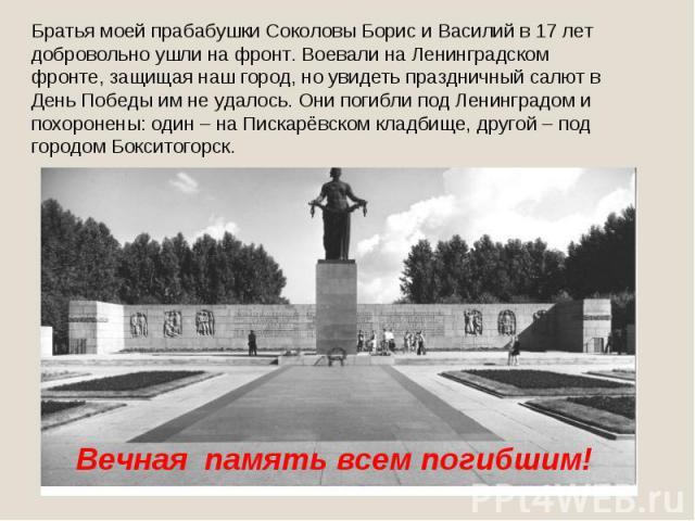 Братья моей прабабушки Соколовы Борис и Василий в 17 лет добровольно ушли на фронт. Воевали на Ленинградском фронте, защищая наш город, но увидеть праздничный салют в День Победы им не удалось. Они погибли под Ленинградом и похоронены: один – на Пис…