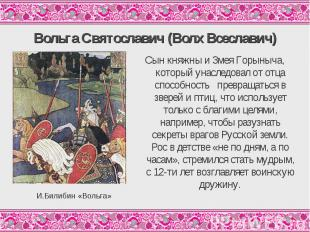 Вольга Святославич (Волх Всеславич)Сын княжны и Змея Горыныча, который унаследов