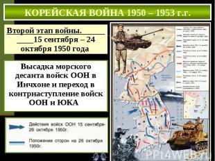 КОРЕЙСКАЯ ВОЙНА 1950 – 1953 г.г. Второй этап войны. 15 сентября – 24 октября 195