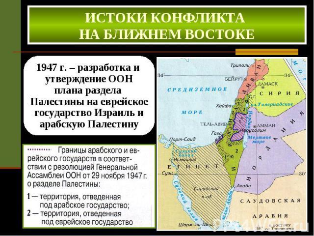 ИСТОКИ КОНФЛИКТА НА БЛИЖНЕМ ВОСТОКЕ 1947 г. – разработка и утверждение ООН плана раздела Палестины на еврейское государство Израиль и арабскую Палестину