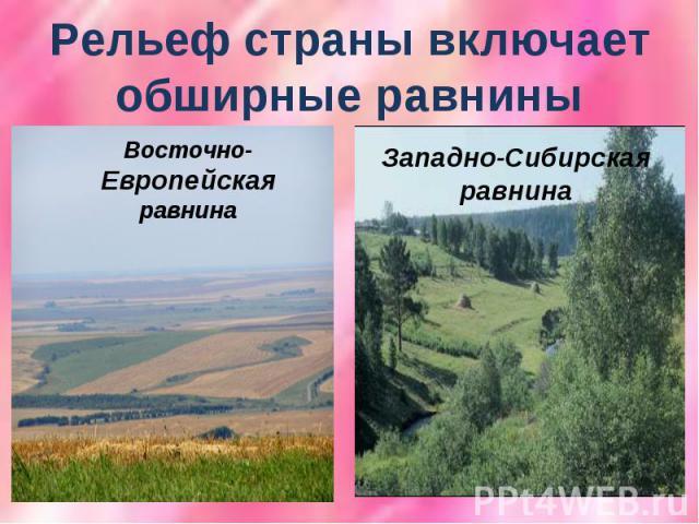 Рельеф страны включает обширные равниныВосточно- Европейская равнина Западно-Сибирская равнина