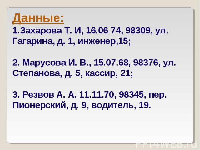Данные: Захарова Т. И, 16.06 74, 98309, ул. Гагарина, д. 1, инженер,15; 2. Марусова И. В., 15.07.68, 98376, ул. Степанова, д. 5, кассир, 21; 3. Резвов А. А. 11.11.70, 98345, пер. Пионерский, д. 9, водитель, 19.