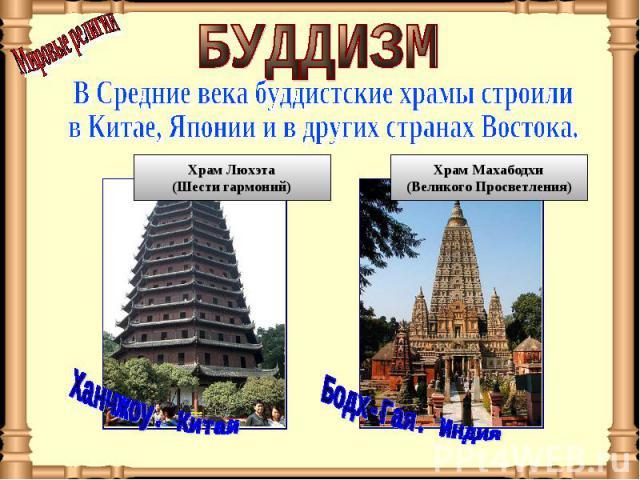 БУДДИЗМ В Средние века буддистские храмы строили в Китае, Японии и в других странах Востока.