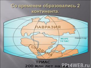 Со временем образовались 2 континента.