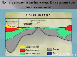 Изучите рисунок в учебнике (стр. 23) и сравните два типа земной коры.