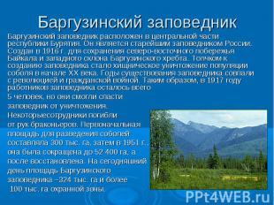 Баргузинский заповедник Баргузинский заповедник расположен в центральной части р
