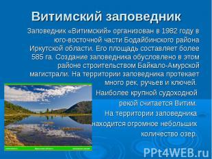 Витимский заповедник Заповедник «Витимский» организован в 1982 году в юго-восточ