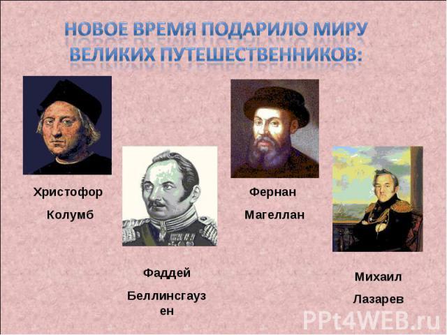 Новое время подарило миру великих путешественников:Христофор Колумб Фаддей БеллинсгаузенФернан Магеллан Михаил Лазарев