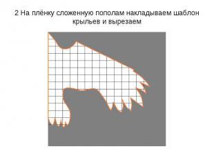 2 На плёнку сложенную пополам накладываем шаблон крыльев и вырезаем