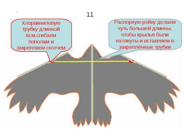 Хлорвиниловую трубку длинной 6см.сгибаем пополам и закрепляем скотчем Распорную рейку делаем чуть большей длинны, чтобы крылья были натянуты и вставляем в закреплённые трубки