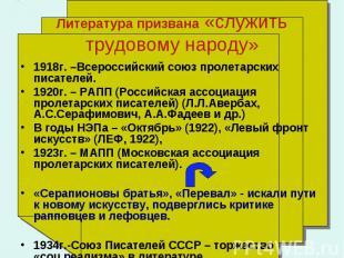 1918г. –Всероссийский союз пролетарских писателей. 1920г. – РАПП (Российская асс