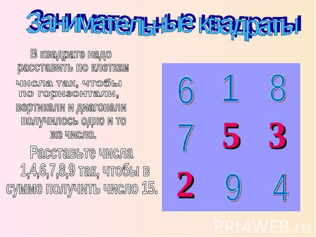 Занимательные квадраты В квадрате надо расставить по клеткам числа так, чтобы по горизонтали, вертикали и диагонали получилось одно и то же число. Расставьте числа 1,4,6,7,8,9 так, чтобы в сумме получить число 15.