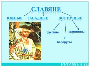 Славяне южные западные восточные русские белорусы украинцы