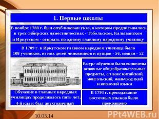 1. Первые школы В ноябре 1788 г. был опубликован указ, в котором предписывалось