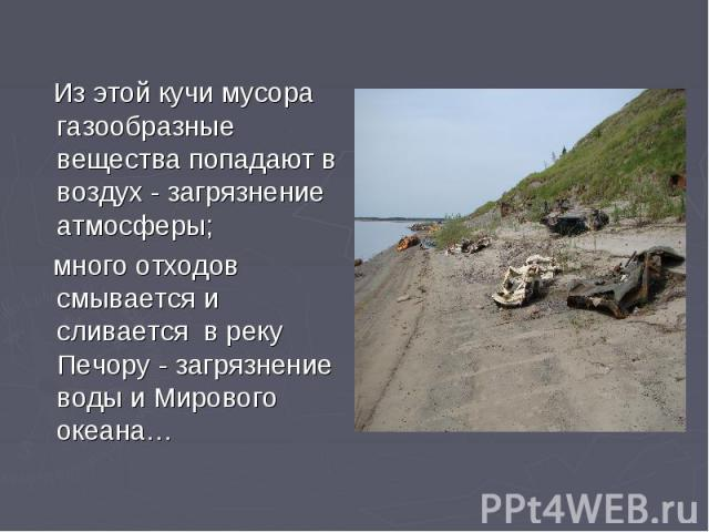 Из этой кучи мусора газообразные вещества попадают в воздух - загрязнение атмосферы; много отходов смывается и сливается в реку Печору - загрязнение воды и Мирового океана…