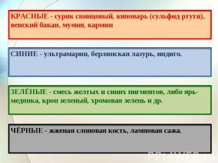 КРАСНЫЕ - сурик свинцовый, киноварь (сульфид ртути), венский бакан, мумия, карми