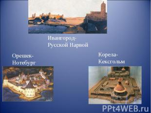 Ивангород-Русской Нарвой Орешек-Нотебург Корела-Кексгольм