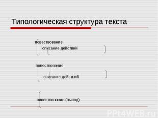 Типологическая структура текста повествование описание действий повествование оп