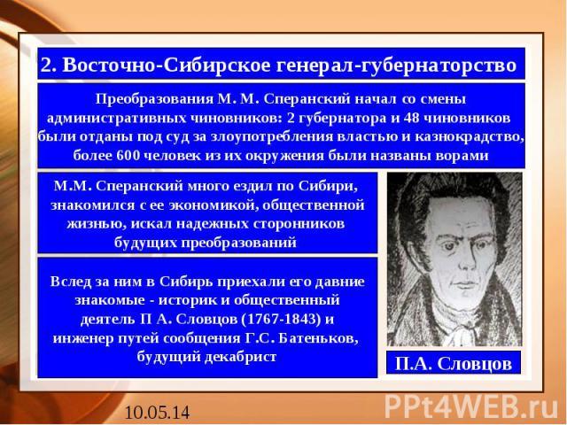 2. Восточно-Сибирское генерал-губернаторство Преобразования М. М. Сперанский начал со смены административных чиновников: 2 губернатора и 48 чиновников были отданы под суд за злоупотребления властью и казнокрадство, более 600 человек из их окружения …