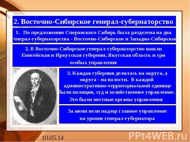 2. Восточно-Сибирское генерал-губернаторство По предложению Сперанского Сибирь была разделена на два генерал-губернаторства - Восточно-Сибирское и Западно-Сибирское 2. В Восточно-Сибирское генерал-губернаторство вошли Енисейская и Иркутская губернии…