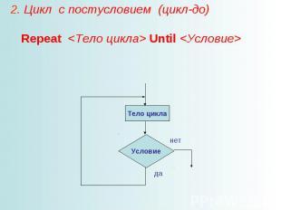 2. Цикл с постусловием (цикл-до) Repeat Until