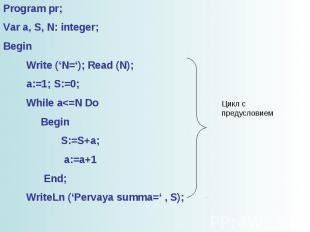 Program pr; Var a, S, N: integer; Begin Write ('N='); Read (N); a:=1; S:=0; Whil