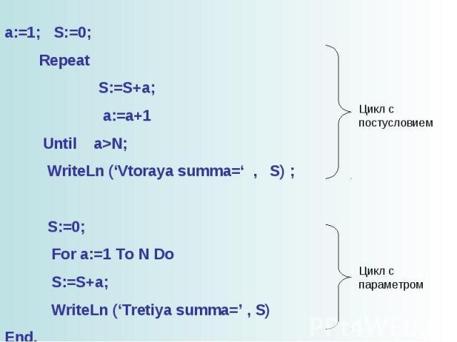 a:=1; S:=0; Repeat S:=S+a; a:=a+1 Until a>N; WriteLn ('Vtoraya summa=' , S) ; S:=0; For a:=1 To N Do S:=S+a; WriteLn ('Tretiya summa=' , S) End.