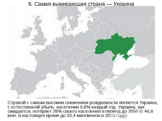 6. Самая вымирающая страна — Украина Страной с самым высоким снижением рождаемости является Украина, с естественной убыль. населения 0,8% каждый год. Украина, как ожидается, потеряет 28% своего населения в период до 2050 (с 46,8 млн. в настоящее вре…