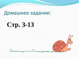 Домашнее задание:Стр. 3-13