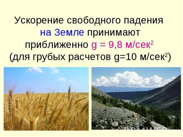 Ускорение свободного падения на Земле принимают приближенно g = 9,8 м/сек2 (для грубых расчетов g=10 м/сек2)