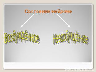 Состояние нейрона Возбуждённое Невозбуждённое